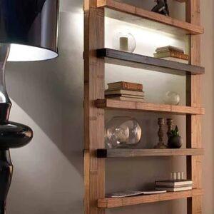 Libreria Light e Mensole Infinity Miele antico e Nero