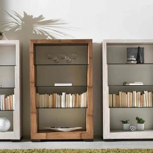 Libreria Glass in Crash Bamboo e Vetro
