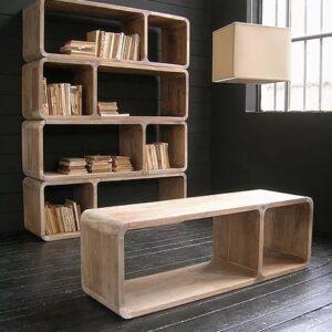 Libreria Modulare Angoli Tondi legno massello